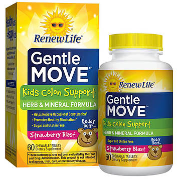 Renew Life, Мягкое движение, детское питание для здоровья толстого кишечника, со вкусом клубничного взрыва, 60 жевательных таблеток