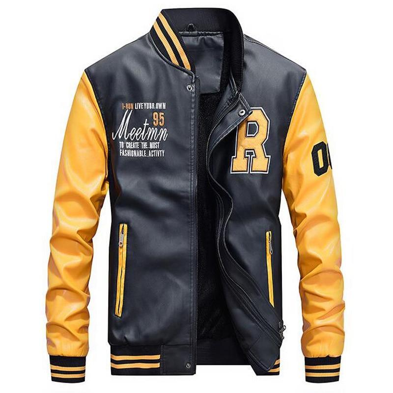 Кожаная мужская куртка! Стильная курта из экокожи (кожзам)! Куртка желто черная на молнии!