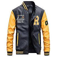 Кожаная мужская куртка! Стильная курта из экокожи (кожзам)! Куртка желто черная на молнии!, фото 1