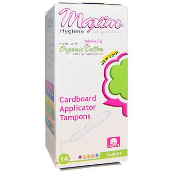 Maxim Hygiene Products, Органические хлопковые тампоны с картонным аппликатором, Супер, 14 тампонов