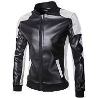 Кожаная мужская куртка! Стильная курта из экокожи (кожзам)! Куртка байкерская черно-белая!