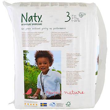 Naty, Подгузники, размер 3, 9-20 фунтов (4-9 кг), 31 подгузник