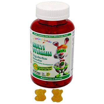 Vitamin Friends, Мультивитамины, вегетарианские мишки, 90 мишек с виноградным пектином