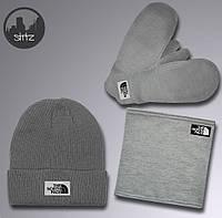 Выгодный зимний комплект шапка + бафф + варежки The North Face(серый), Реплика