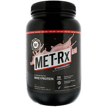 MET-Rx, 100% ультрамексин сывороточный, клубника, 32 унции (907 г)