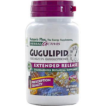 Natures Plus, Herbal Actives, Gugulipid, с отложенным высвобождением активного вещества, 1000 мг, 30 вегетерианских таблеток