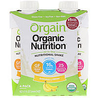 Orgain, Organic Nutrition, All-in-One Nutritional Shake, Bananas & Cream, 4 Pack, 11 fl oz Each