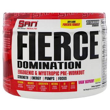 SAN Nutrition, Fierce Domination, Ergogenic & Myotropic Pre-Workout, Ragin Raspberry Lemonade