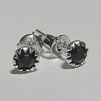 Серебряные серьги гвоздики черные стерлинговое серебро 925 проба (1376), фото 1