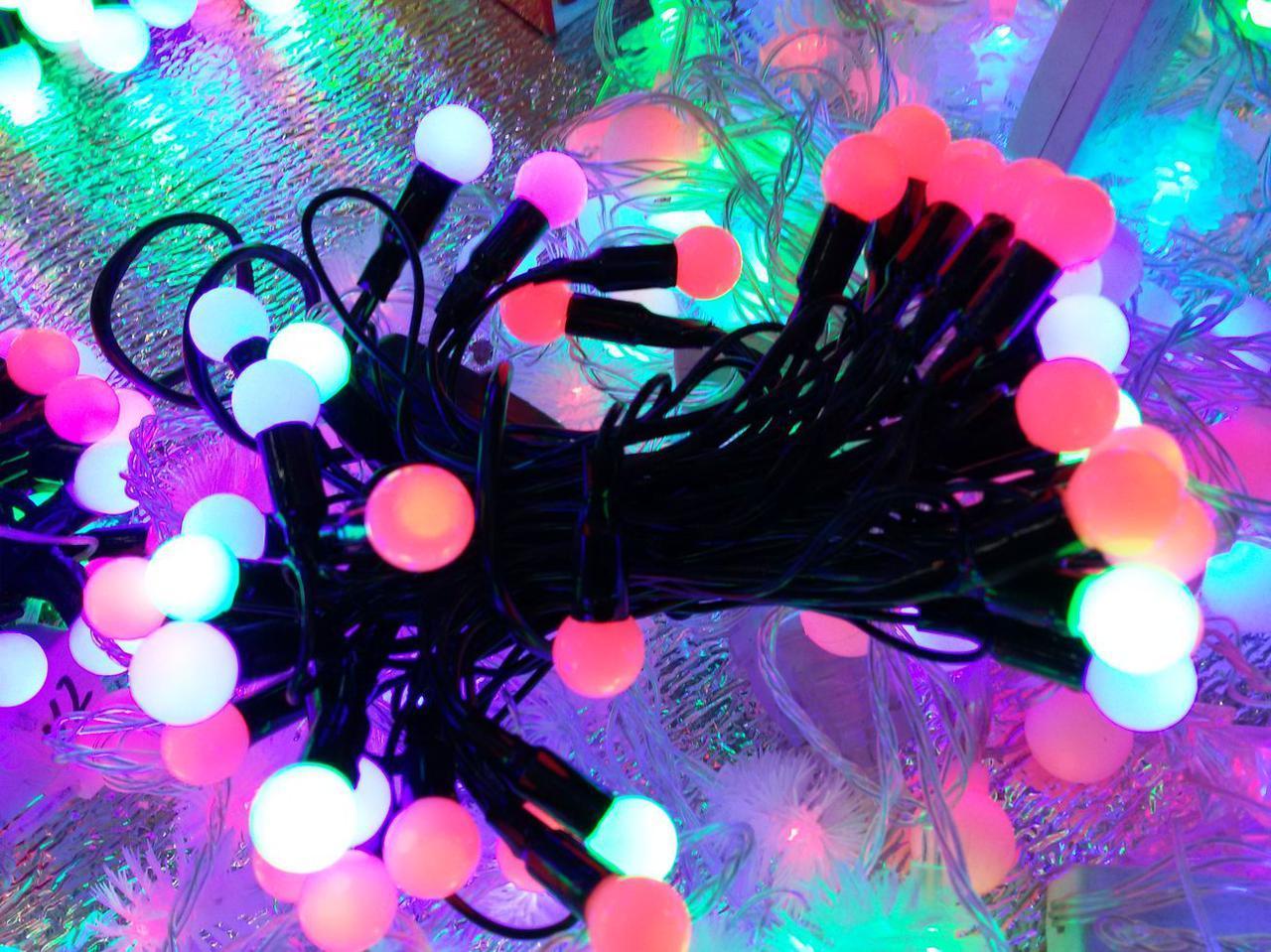 Гирлянда шарики 50 LED 11mm 6 метров разноцветная