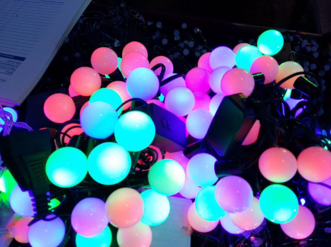 Гирлянда шарики 50 LED 16mm  6 метров разноцветная