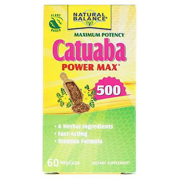 Natural Balance, Катуаба Power Max 500, максимальная эффективность, 60 капсул с оболочкой из ингредиентов растительного происхождения