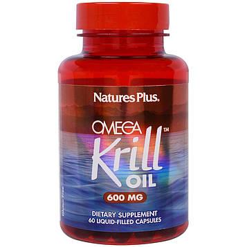 Natures Plus, Омега крилевый жир, 600 мг, 60 капсул с жидкостью