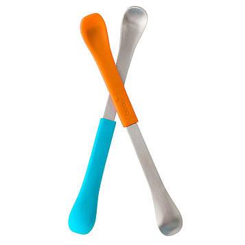 Boon, Swap, ложка для кормления 2-в-1, от 4 месяцев, синяя и оранжевая, 2 шт.