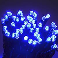 Гирлянда Уличная нить (линия) 100 LED 8mm,10 метров, на белом проводе.синяя