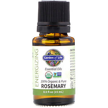 Garden of Life, 100% Organic & Pure, Essential Oils, Energizing, Rosemary, 0.5 fl oz (15 ml)