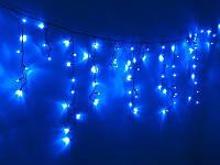 Гирлянда уличная бахрома (сосульки) 100 LED5mm,3метра 70/60/50 см,на черном проводе. синяя, фото 1