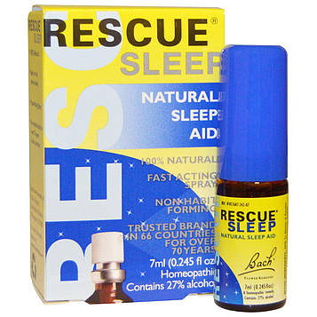 Bach, Оригинальные цветочные лекарства, Rescue Sleep, натуральный спрей, способствующий естественному сну, 0,245 жидкой унции (7 мл)
