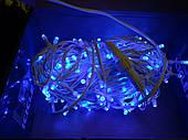 Гирлянда Уличная нить(линия) 100 LED 5mm,10 метров,на Белом проводе, синяя