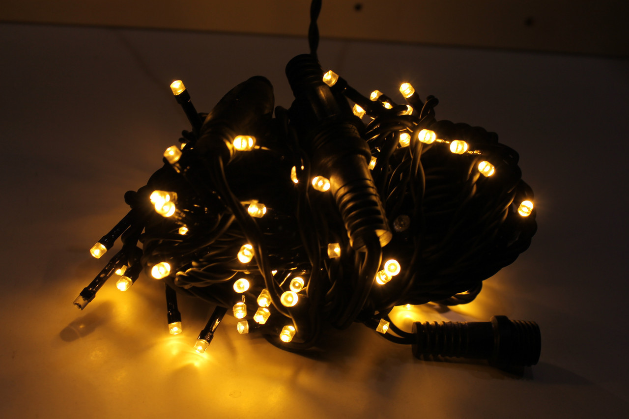 Гирлянда Уличная нить(линия) 100 LED 5mm,10 метр,на Черном проводе, тепло-белая