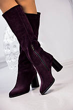 Женские зимние замшевые сапоги на устойчивом каблуке