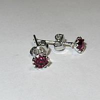 Серебряные серьги гвоздики розовые стерлинговое серебро 925 проба (1377), фото 1