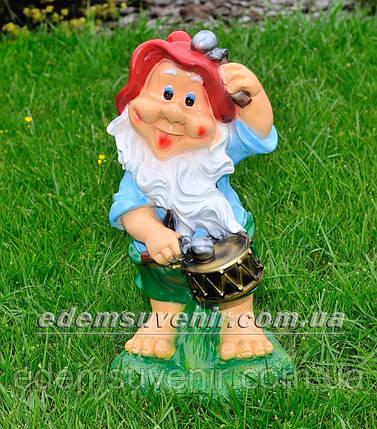 Садовая фигура Гном Барабанщик средний, фото 2