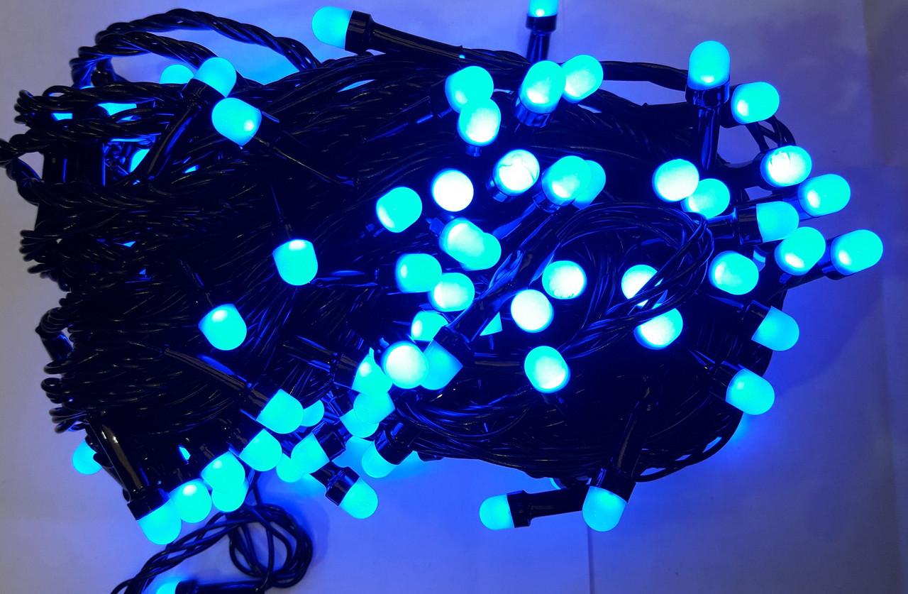 Гирлянда ягода 200 LED 8mm на черном проводе, синяя
