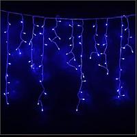 Гирлянда Бахрома (сосулька-штора) 120 LED-8mm, на черном проводе синяя, фото 1
