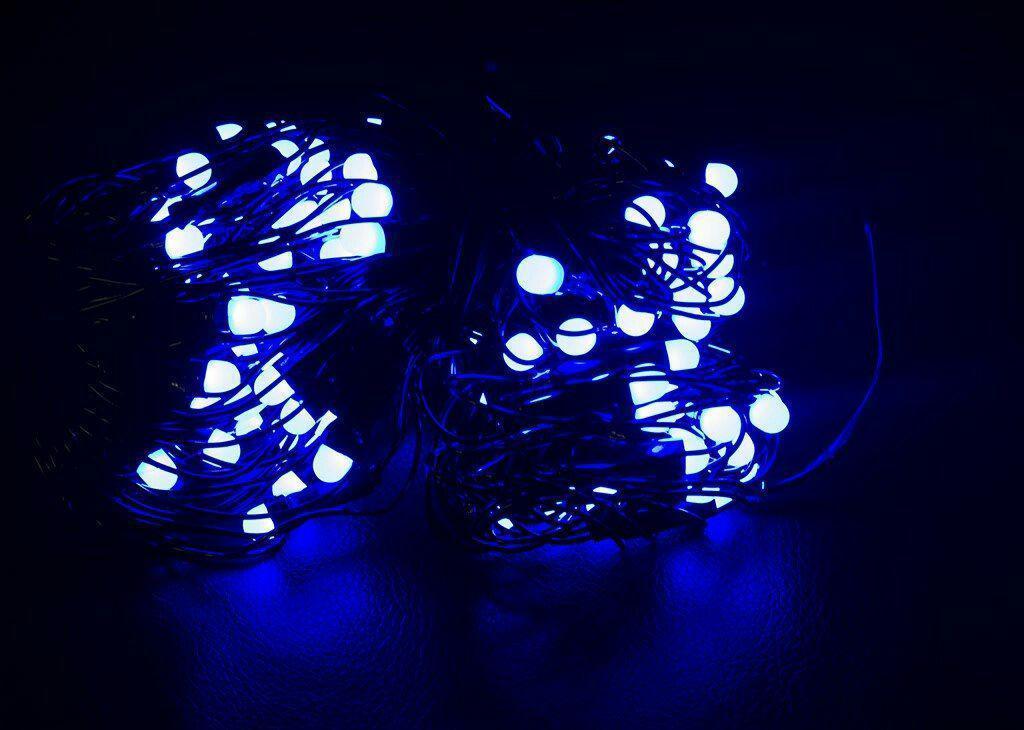 Гирлянда Сетка Ягодка 120 LED-8mm 1,5m*1,5m на черном проводе синяя