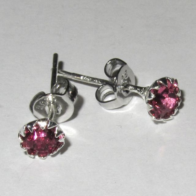 Серебряные серьги гвоздики розовые