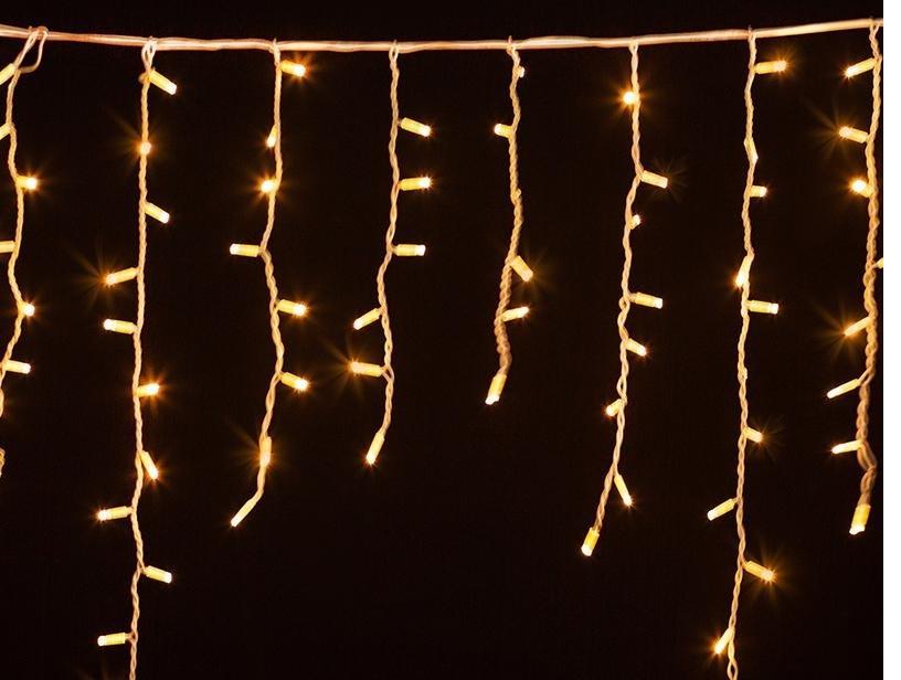 Гирлянда Уличная бахрома (сосульки) 100 LED5mm,3 метра 70/60/50 см,на черном проводе.тепло-белая