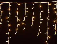 Гирлянда Уличная бахрома (сосульки) 100 LED5mm,3 метра 70/60/50 см,на черном проводе.тепло-белая, фото 1