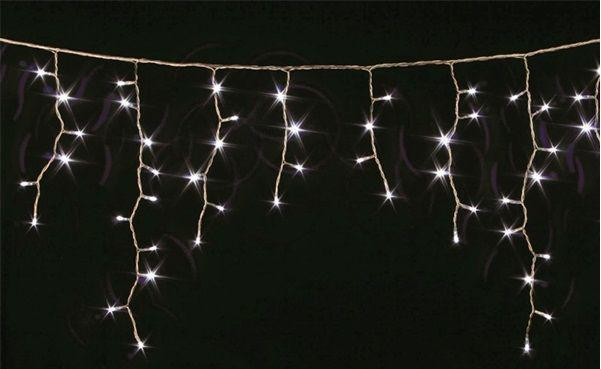 Гирлянда Уличная бахрома(сосульки) 200 LED5mm,5 метра 70/60/50 см,на черном проводе.белая