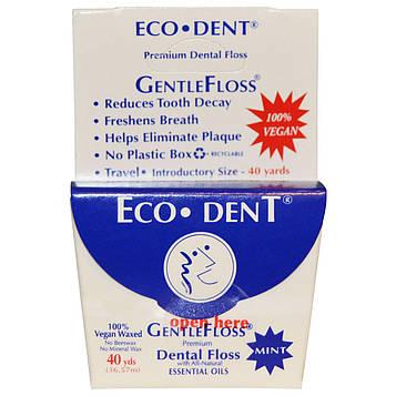 Eco-Dent, Зубная нить GentleFloss, мята, 40 ярдов (36,57 м)