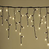 Гирлянда Уличная  Бахрома(сосульки) 100 LED 8mm 3 метра,70/60/50 см,на черном проводе тепло-белая, фото 1