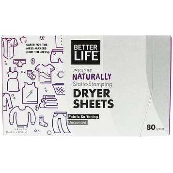 Better Life, Салфетки с натуральной пропиткой мягчителем-антистатиком, без запаха, 80 салфеток