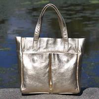 1ffc8e170d4d Кожаная женская сумка-шоппер, очень вместительная,практичная -стильная  Палермо черная Золотой. В наличии