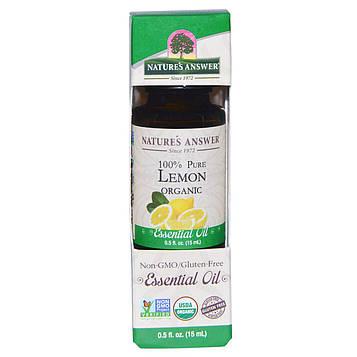 Natures Answer, Органические эфирные масла, масло лимона 0,5 жидких унций (15 мл)