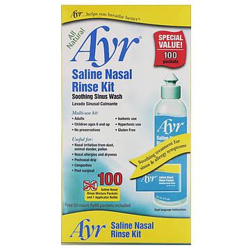 AYR, Абсолютно натуральный назальный комплект с морской солью, 1 комплект