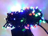 Гирлянда кристалл 300 LED 5mm на черном проводе, разноцветная, фото 1