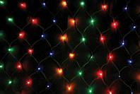 Гирлянда СЕТКА 120 LED-5mm 1,5m*1,5m  на черном проводе разноцветная