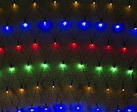Гирлянда СЕТКА 200 LED-5mm 2m*2m на прозрачном проводе разноцветная, фото 1