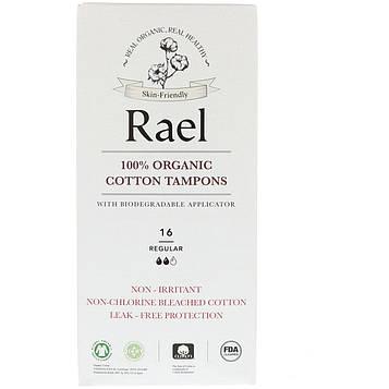 Rael, 100% Organic Cotton Tampons with Biodegradable Applicator, Regular, 16 Tampons