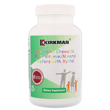 Kirkman Labs, Childrens Chewable Multi-Vitamin/Mineral Wafers with Xylitol, 120 Chewable Wafers