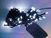 Гирлянда елка 100 LED на черном проводе белая, фото 1