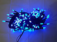 Гирлянда 300 LED иголка (рис) на черном проводе 5mm, синего цвета, фото 1