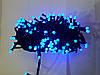 Гирлянда матовая 200 LED 5mm на черном проводе, синяя