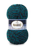 Nako Sport Wool черно-петрольный мулине № 21341