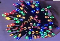 Гирлянда УЛИЧНАЯ нить (линия)  100 LED 8mm,10 метров, на черном проводе.разноцветная, фото 1